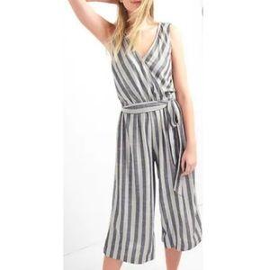 NWT Gap striped faux wrap wide leg jumpsuit